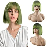 Green Wig for Women - Synthetic Short Bob Straight Wigs with Bangs Cute Fashion Natural Looking Heat Resistant Fiber Hair Wigs for St.Patrick's Day Daily Party Cosplay Halloween