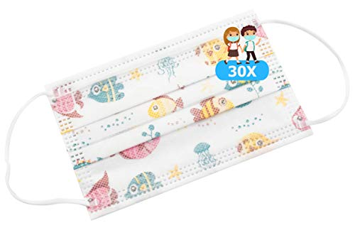 TBOC Mascarilla Higiénica Niños No Reutilizable -  [Pack 30 Unidades] 3 Capas [Color Blanco Peces]