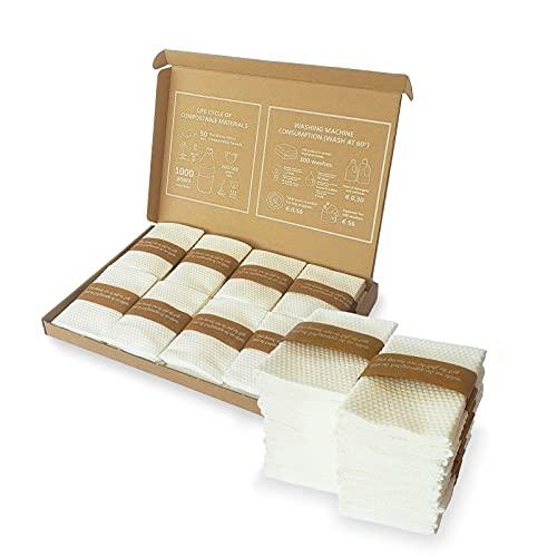 24 Asciugamani Bio per il Viso e Mani | 100% fibra naturale | Salviette da Bagno per gli Ospiti | Set di lavette da bagno | Confezione di Piccoli Asciugamani Ultra Assorbenti | Cotone Compostabile