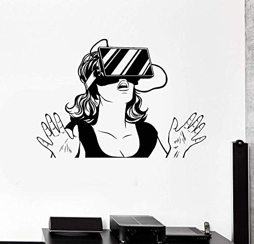 DLYD Vinyl Wall Decals Virtual Reality Headset VR Device Woman Sticker Game Lovers Teen Girls Bedroom Home Decor Wall Stickers