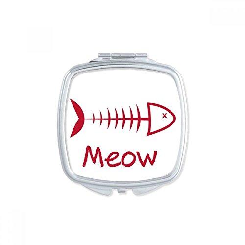 DIYthinker Fish Bone Meow de Ligne Dessin Protection des Animaux Simple carré de Maquillage Compact Miroir de Poche Portable Mignon Petit Miroirs Main Multicolore