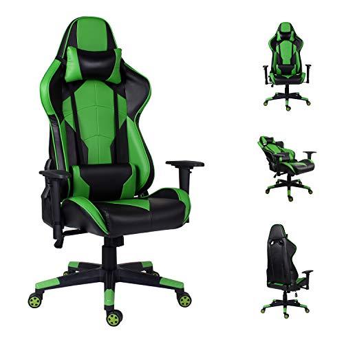 EUCO Kontorsstol, spelstol racing stil läder datorstol ergonomi PC-stol hög rygg liggande kontorsstol med justerbart armstöd och korsryggsstöd