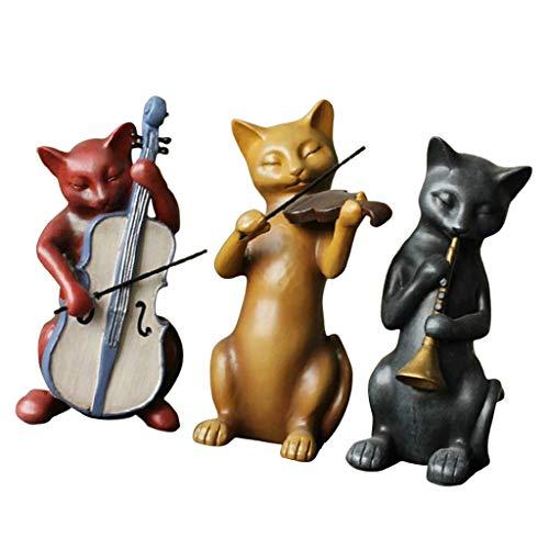 Baoblaze 3pcs Caballeros Gatos Banda Esculturas Estatuas Figuras de Resina Decoración de