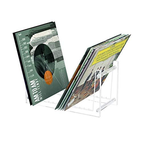 AITEE Soporte de almacenamiento para discos de vinilo, acrílico transparente, con 12 ranuras antideslizantes, soporte para discos de vinilo extraíble para 50 o más discos (transparente)