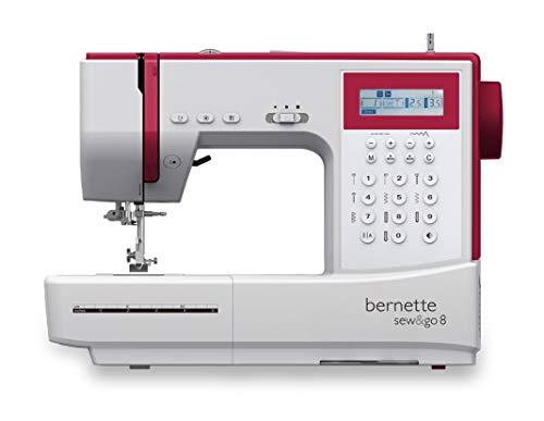 Bernette Sew & Go 8 - Machine à coudre avec pédale, 197 points différents et programmes de couture (points utiles, points élastiques, points décoratifs), Écran LCD et régulateur de vitesse
