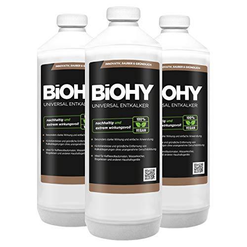 BiOHY Universal Entkalker (3x1l Flasche)   Konzentrat für 20 Entkalkungsvorgänge pro Flasche   Kompatibel mit allen Kaffeevollautomaten & Espressomaschinen