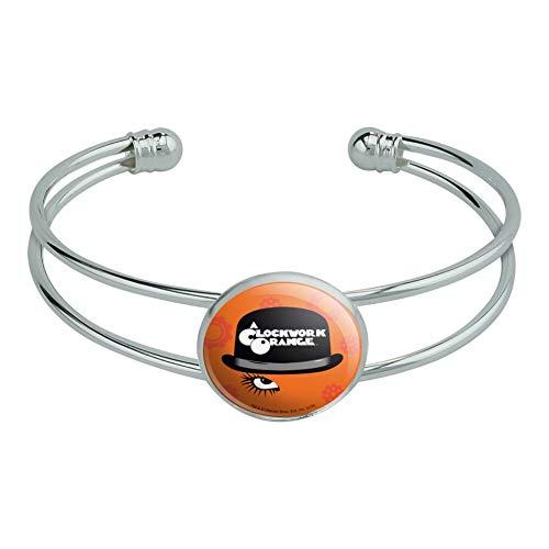 GRAPHICS & MORE A Clockwork Orange Hat and Logo Novelty Silver Plated Metal Cuff Bangle Bracelet