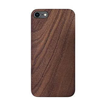 iATO iPhone SE 2020 / iPhone 8 Wood Case Real Walnut iPhone 8 / iPhone SE 2020 Case Wood Minimalistic Classic Dark Wood Case Supports Wireless Charging – Natural Wooden Overlay & Black Polycarbonate