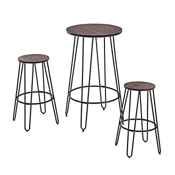 NOBPEINT 3 Piece Bar Table Set 2 Stools Bistro Pub Kitchen Dining Furniture Rustic Brown