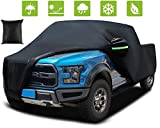 Truck Cover, Black Car Cover Waterproof All Weather Sun Rain Snow Dust Protection Outdoor Heavy Duty Car Covers for Automobiles/Extended Cab/Pickup, w/ Reflective Strips