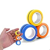 3Pcs Magnetic Finger Ring, Fidget Toys, Magnetic Toys, Fidget Ring Magnet Fingertip Toys, Decompression Magnetic Magic Ring, Durable Colorful Unzip Finger Game Stress Relief for Adults Children