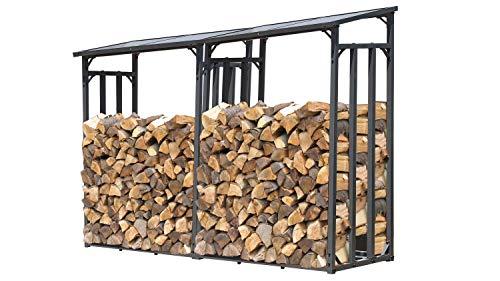 GRASEKAMP Qualität seit 1972 2 Stück Kaminholzlager 130 x 60 x 203 cm mit Doppelstegplatten Regal Stapelhilfe Aussen