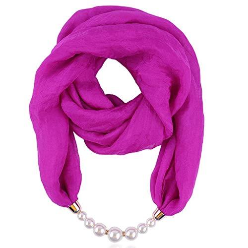 QIMANZI Schals Damen Frauen Boho Beach Deckenschal ElegantHalsketteLätzchen Pearl Halskette Anhänger Beiläufig Weich Wickeln Halskette Herbstschal(Lila)