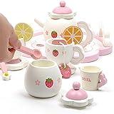 Tee-Set Hölzerner Erdbeer Nachmittagstee Kinderhaus Tee-Set Spielhaus Rosa Süße Erdbeere Tu so...