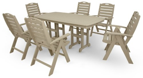 Trex Outdoor Furniture by Polywood 7-Piece Yacht Club Highback Dining Set, Sand Castle