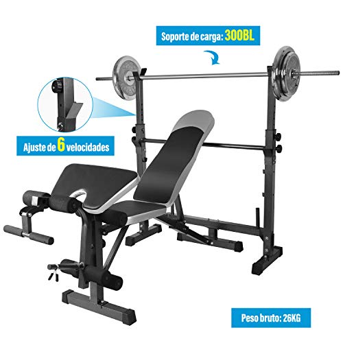 OTEKSPORT Adjustable Weight Bench Set for Full Body Workout, Multi-Functional Olympic Weightlifting Bed, Strength Training Equipment for Indoor Exercise