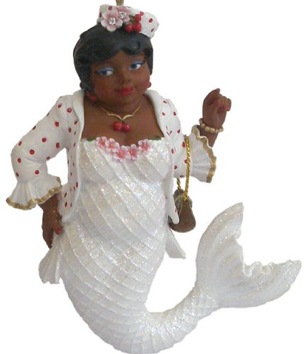 December Diamonds Cherry Blossom African American Gospel Singer Church Going Mermaid Ornament. She is Embellished with Red Rhinestone Jewels.Cherry is Approximately 4.5 in Tall. & Adorable!