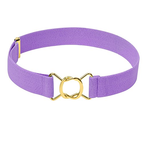 HOLD'EM Kids Belts for Boys Brass Twisted Buckle Belt -Lavender