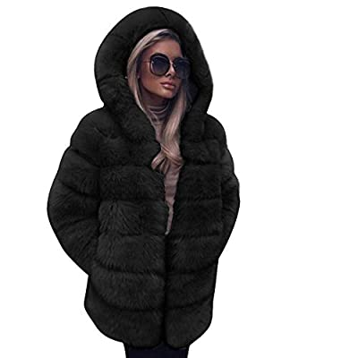 Women Fluffy Coat,Popular Fleece Warm Outwear Long Sleeve Hooded Cardigan Oversize Luxury Faux Fur Jacket