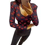 LAMUCH Impresión Digital Mujeres Rojo Labios Camiseta Manga Larga 2021 Mujer Sexy Medio Alta Camiseta Cuello Primavera Otoño Señora Hombro Base Top D30