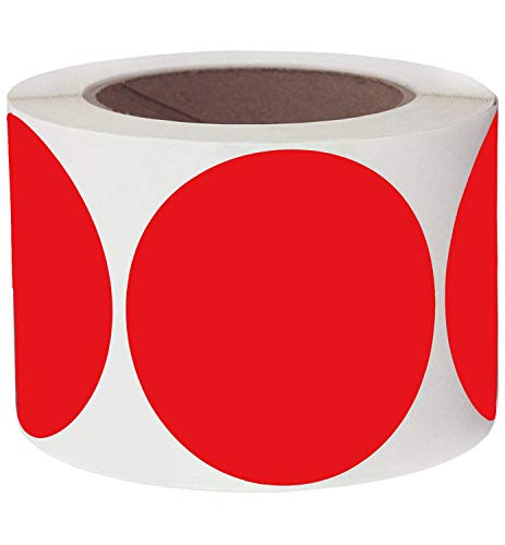 """Pop Resin 3"""" Round Red Color Coding Dot Labels   Target Repair Pasters Stickers Permanent Adhesive, Writable Surface - 250 Colored Circle Inventory Stickers Per Roll"""