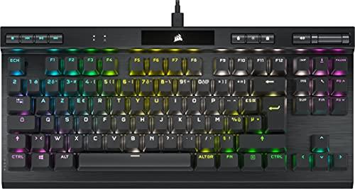 Corsair K70 RGB TKL CHAMPION SERIES Clavier Gaming Mécanique Sans Pavé Numérique (Switchs CHERRY MX Red: Lisse et Rapide, Châssis Aluminium Résistant, Rétroéclairage LED RGB) AZERTY, Noir