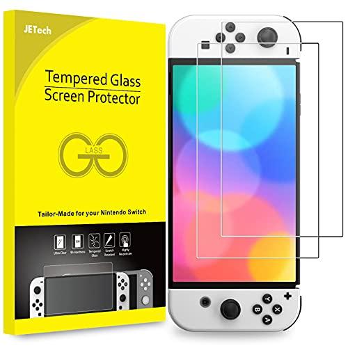 JETech Protector Pantalla Compatible con Nintendo Switch (Modelo OLED) Versión 2021 de 7 Pulgadas, Película de Cristal Vidrio Templado, 2 Unidades