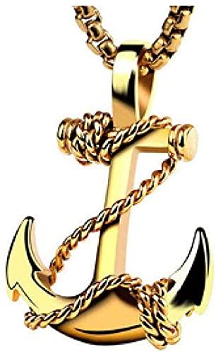 LKLFC Collar para Mujer Collar para Hombre Colgante de Acero Inoxidable Cuerda Ancla Colgante Collar Cadena joyería Encanto gótico Estilo Marino Colgante Collar Regalo para niñas niños