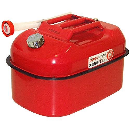 ガレージ・ゼロ ガソリン携行缶 20L [赤/横型/亜鉛メッキ鋼板消防法適合品] (GZKK03)