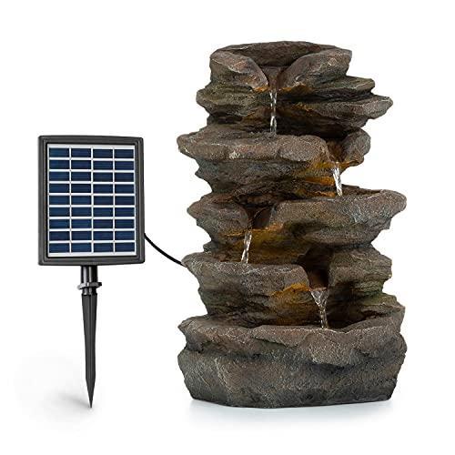Blumfeldt Stonehenge Solarbrunnen, inkl. Solarpanel, Lithium-Ionen-Akku (ca. 5h Laufzeit), LED-Beleuchtung, Polyresin  frostbeständig, für drinnen und draußen, Steinoptik
