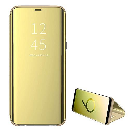Funda para Galaxy A40, para Samsung Galaxy A20e, funda con espejo transparente, función atril, 360 grados, antigolpes, antiarañazos, tapa fina, color azul dorado Talla única