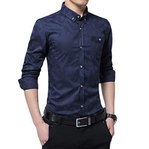 Camisas de Manga Larga para Hombres Moda de Negocios Moda Impresa Cuello Alto Camisas de Talla Grande Pura Camisas Informales de un Solo Pecho para Todo fsforo 3XL