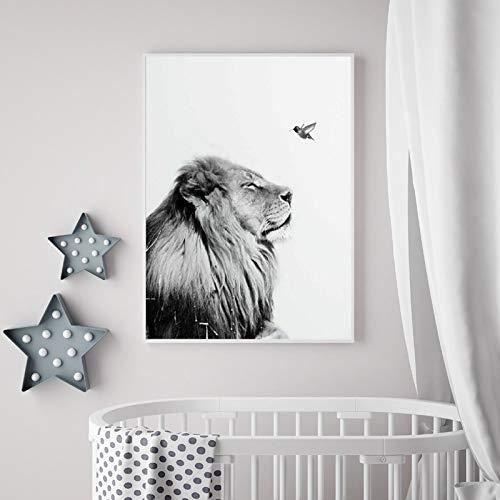 Schwarzweiss-Löwenplakate und -drucke-Wandkunst-Leinwand-Malerei-Wandbilder des wilden Tieres Kinderzimmer-Dekoration 40x50CM