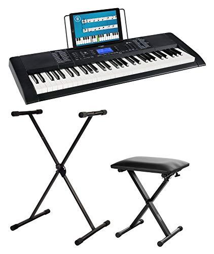 Funkey 61 Edition Pro Set inkl.Keyboardständer und Bank (128 Sounds, 128 Rhythmen, 10 Demo Songs, LCD Display mit detaillierter Anzeige, MP3-/USB-Port, Netzteil, Notenständer, Ständer, Hocker) schwarz