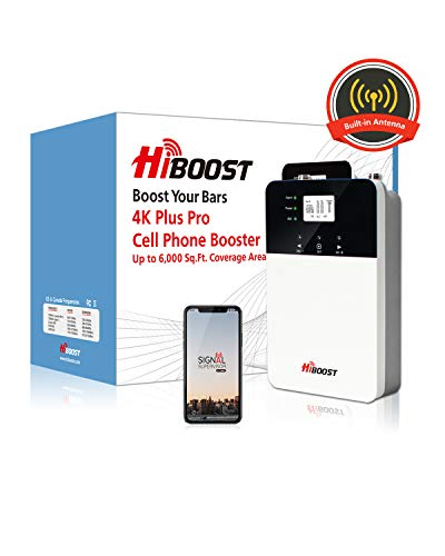 4K Plus Pro Signal Booster, HiBoost App Helps Fine Tune Max Power for Best Coverage, Cell Booster Improve Phone Signal for Home and Office up to 3,000-6,000 Sq.Ft, Cell Phone Booster for All Carriers