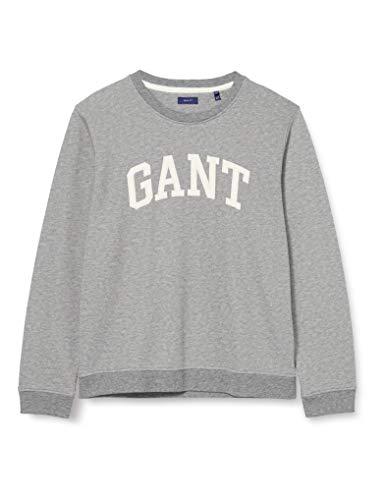 GANT Arch Logo C-Neck Sweat Suéter, Melange Gris, S para Mujer