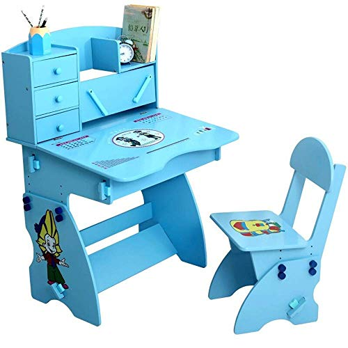 Decoration Accessories Children's table and chair set Children Lift And Chairs Student Learning Desk For Boys Girls School Workstation Indoor or outdoor children's table and chair set ( Color : Blu