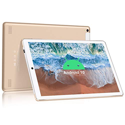 Tablet 10.0 Pulgadas, DUODUOGO Android 9.0 Tableta PC con 3GB RAM 32GB ROM Escalable 128GB - Certificación Google gsm/Quad Core/4G SIM/Cámara Dual 5MP 8MP/WIFI/8000mAH/Bluetooth- Oro