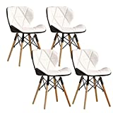 SFSGH Classic White Set of 4 Dining Chairs Nordic Wooden Legs Butterfly Backrest PU Leather Comfortable Padded Seat Kitchen Chair for Home Office Modern Chair