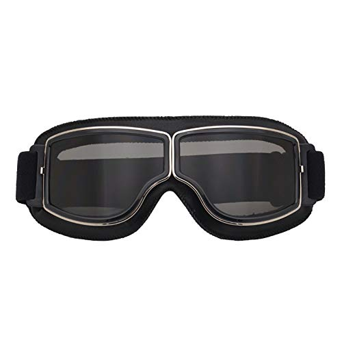 Metermall Good for Leather Vintage Scooter Goggles Pilot Ski Sunglasses Helmet Eyewear Black frame gray lens