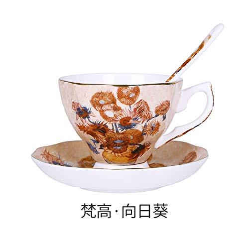 HGFER Kaffeetassen Mug,400Ml Keramik Van Gogh Sonnenblumen Gemälde Mit Griff Untertasse Löffel Wiederverwendbare Tee Milch Espressotasse Geschenk Für Mutter Frauen Ehemann Freund Kinder Geschenk