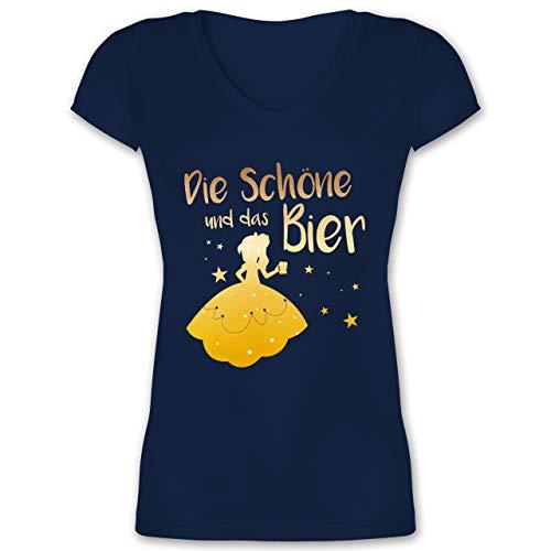 Frauen Geschenk Damen - Die Schöne und das Bier - S - Dunkelblau - Geschenk Damen pink - XO1525 - Damen T-Shirt mit V-Ausschnitt