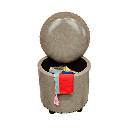 XBCDX Cajas de Almacenamiento Otomano para Adultos Taburete para pies Reposapiés y pufs de Forma Redonda Taburetes Impermeables multifunción Silla para Sala de Estar Dormitorio