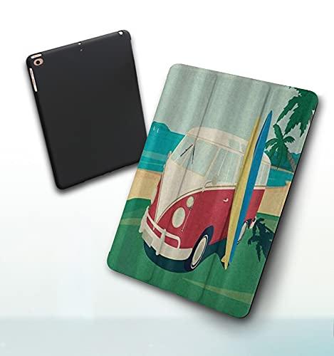 Funda para iPad 9,7 Pulgadas, 2018/2017 Modelo, 6ª / 5ª generación,Divertido autobús retro con tablas de surf en The Tropical Beach Old Camping Days Smart Leather Stand Cover with Auto Wake/Sleep