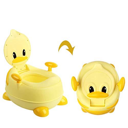 Bamny Orinales Infantiles 3 en 1 con Tapa, Orinal Water Infantil con Asiento Acolchado y Protector contra Salpicaduras, Inodoro para Bebés (Patito amarillo)