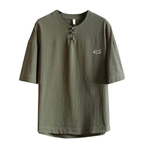 GreatestPAK Knopfverschluss Kurzarm Topse Herren Baumwolle Leinen Druck im chinesischen Stil Freizeit O-Ausschnitt T-Shirt,Armeegrün,3XL