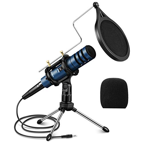EIVOTOR Condenser Microphone, 3.5mm PC Microphone Plug & Play Recording Microphone with Anti Slip...