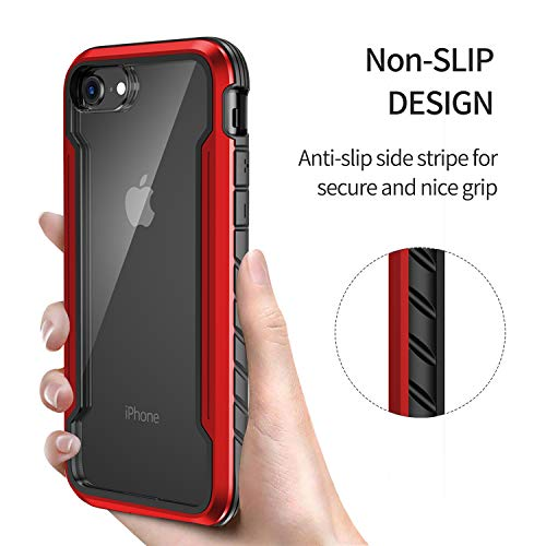 "iPhone 6 7 8 Case Double Series Military Grade Drop Protection Hybrid Heavy Duty Extreme Protection Clear Sturdy Metal Bumper Case Support Wireless Charging for iPhone 6 7 8 4.7"" Red"