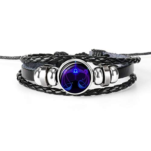 DASHUAIGE Pulsera 12 Constellation Zodiac Sign Pulsera De Cuero Trenzado Negro Cancer Leo Virgo Libra Woven Glass Dome Jewelry Punk Men Pulsera