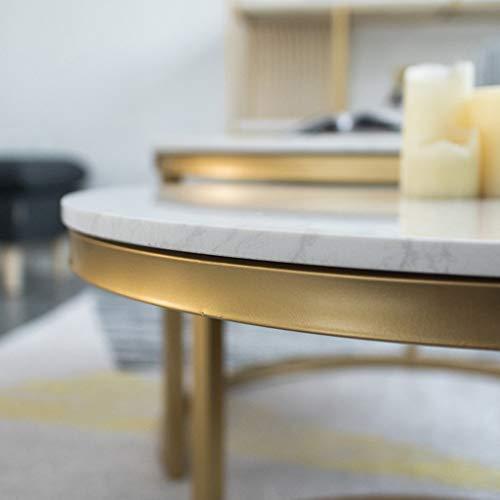 家具テーブル、コンテンポラリーラウンドネスティングサイドエンドテーブルセットリビングルーム、2個セット、白大理石、金鉄ベースコーヒーテーブル